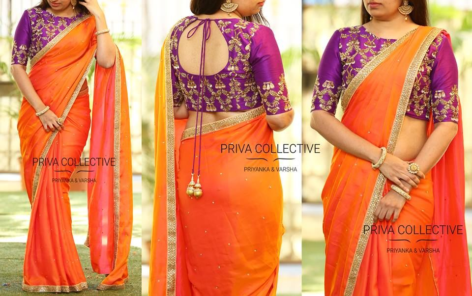 5fce74699891d1 16 Awesome Ways To Wear Plain Sarees With Heavy Blouse | Blouse ...