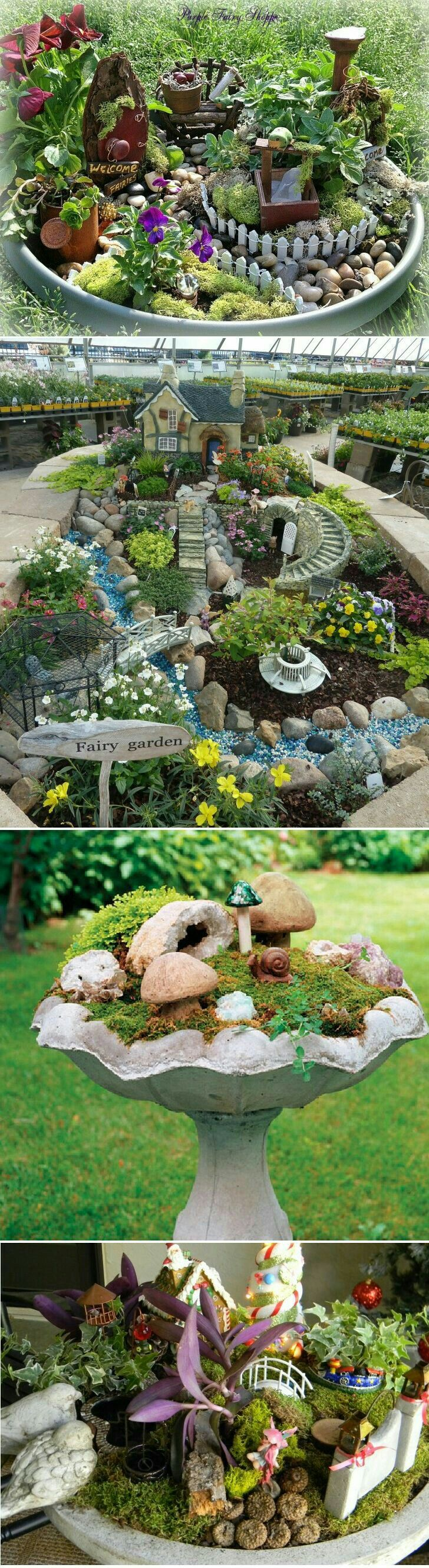 DIY Ideas How To Make Fairy Garden   Gardening Designing. Oh My Gosh.  Really Want To Do The Bird Bath Mini Garden!