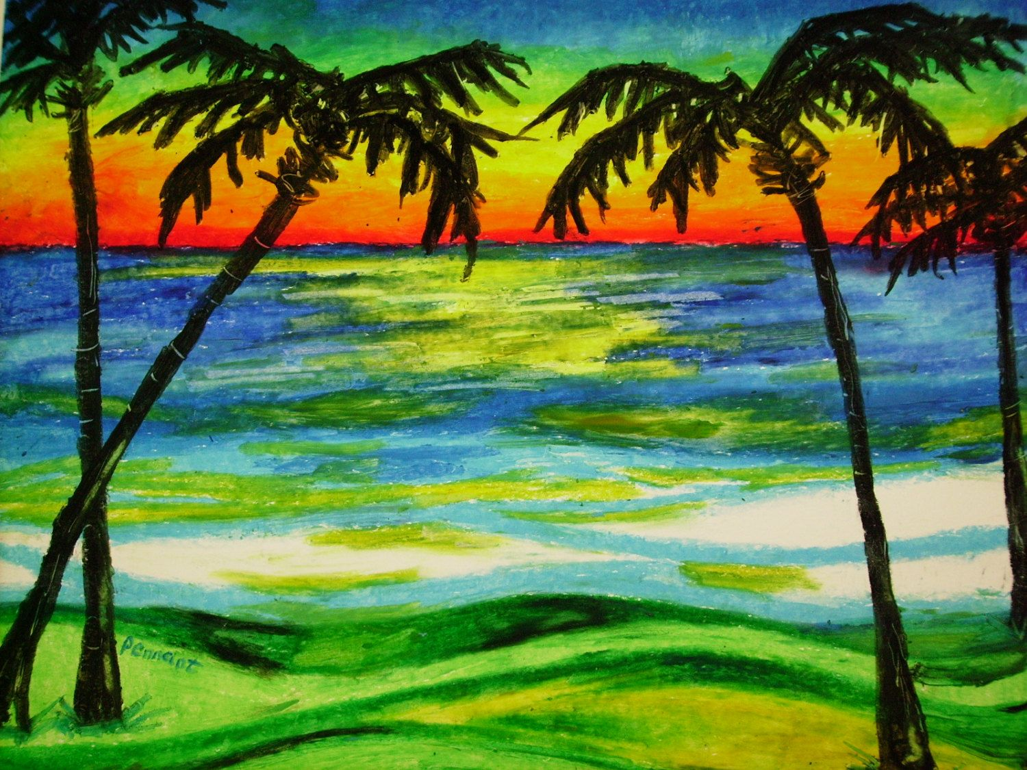 Palms At Sunset 14x17 Beach Landscape Oil Pastel By CapArtShop