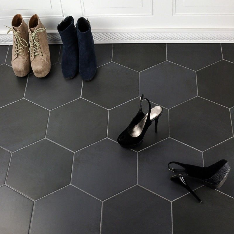 Paige Antracite 10 Black Floor Tiles Entryway Tile Hexagon Tiles