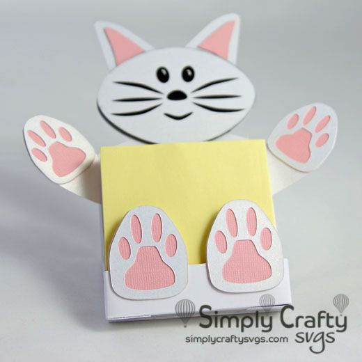 cat sticky notepad holder svg file bags boxes and 3d papercraft