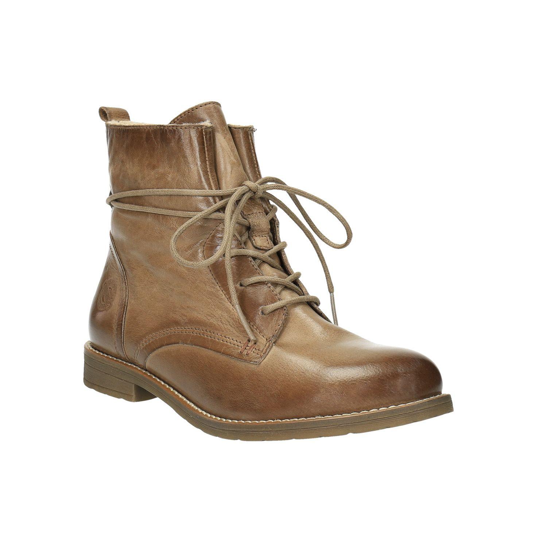 b8bdc02bf96 Dámské kotníčkové boty mají kožený svršek v hnědém odstínu