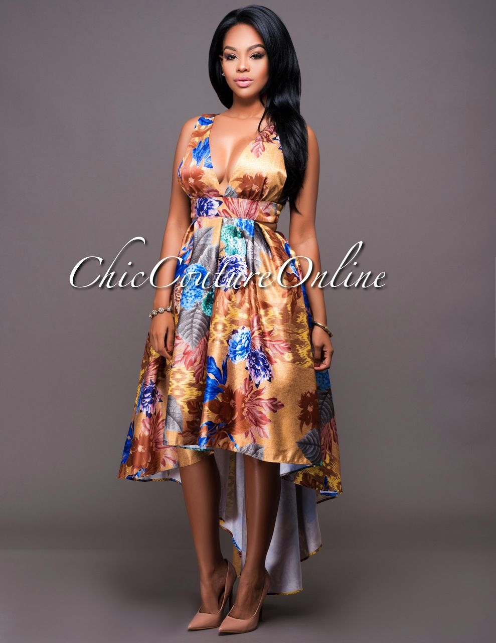 73bc00141b1 Chic Couture Online - Donatella Bronze Floral Print Cut-Out High-Low Dress