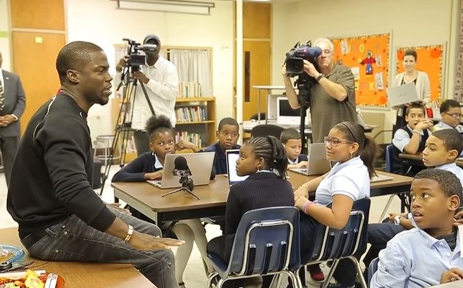 Money Team Mag Kevin Hart Goes Back To His Hometown Of Philly To Donate Computers To Schools!