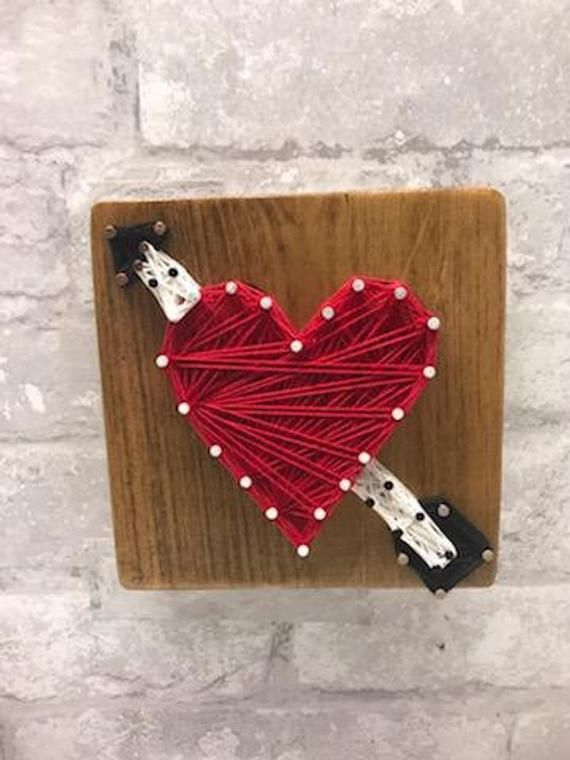 Heart String Art Wood Sign Home Decor Gift For Wife Girlfriend Handmade Artwork In 2019 Products Wood Signs Home Decor String Art Heart With Arrow