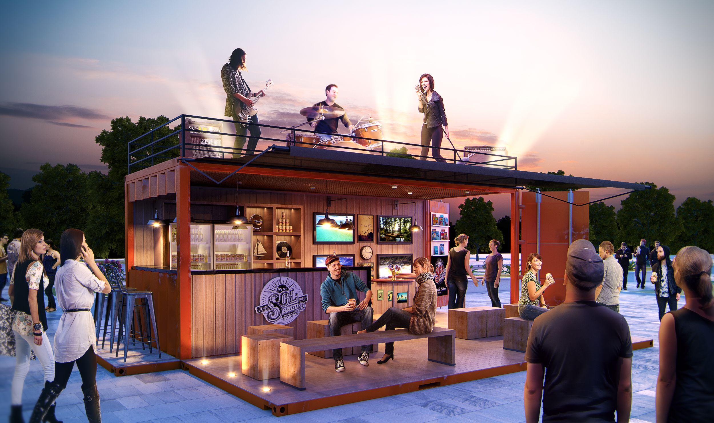 Projeto bar Container para uma marca de cerveja.