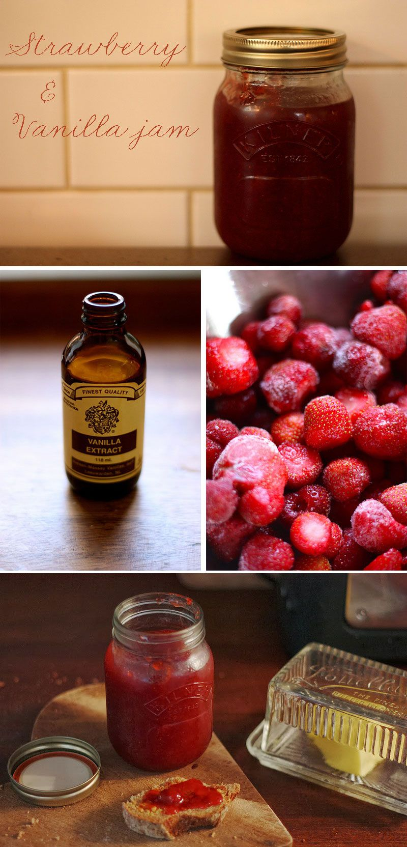 Easy strawberry and vanilla jam can be made with frozen