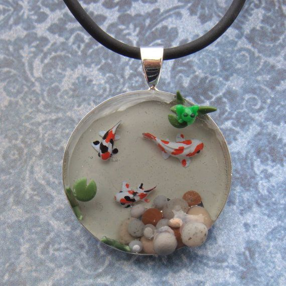 Koi fish pond pendant necklace with tiny frog lily pad and koi fish pond pendant necklace with tiny frog lily pad and pebbles polymer aloadofball Images