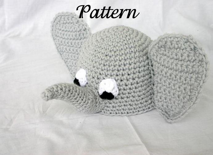 Baby elephant beanie hat PDF Crochet Pattern 0-6 months infant ...