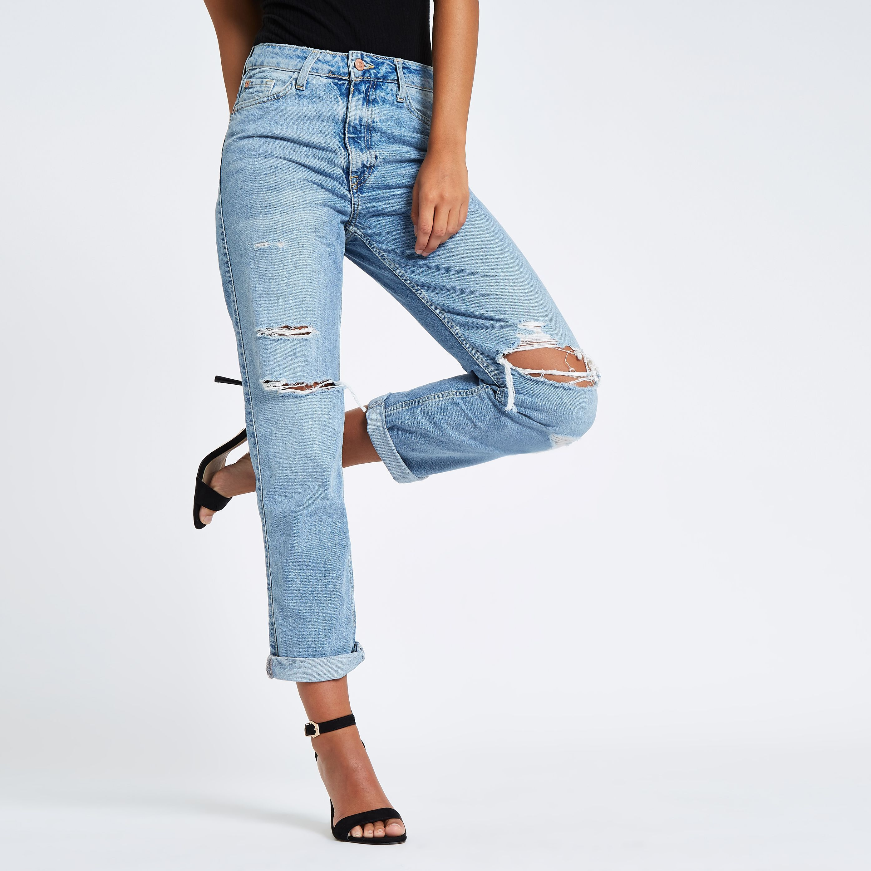 promo codes best prices usa cheap sale River Island Womens Mid Blue high rise mom fit ripped jeans in ...