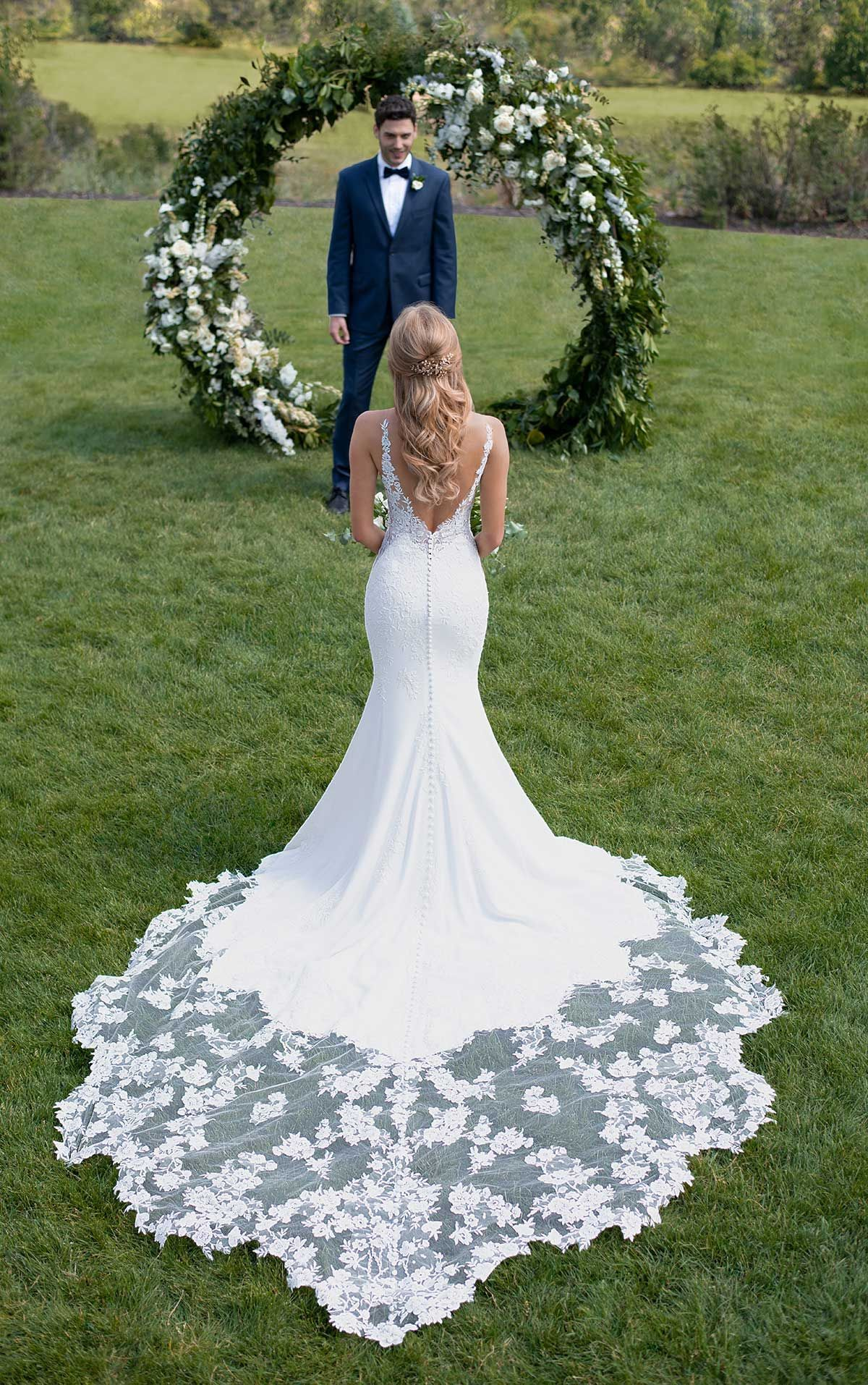 Botanical Lace Wedding Dress with Shaped Train - Martina Liana