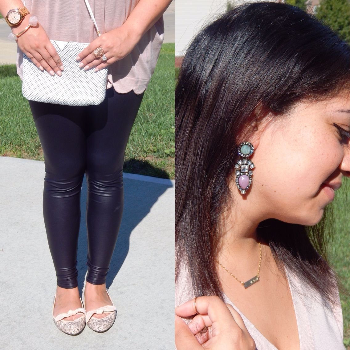 Leather leggings gone girly - jcrew scallop sweater and statement earrings