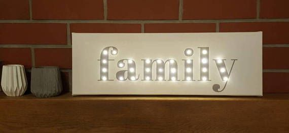 Family Led Sign Light Up Letters Marquee Lighted Sign Marquee Letters Family Wall Decor Gray Light Up Sign Family Print Custom Made Marquee Lighted Signs Light Up Letters Family Wall Decor