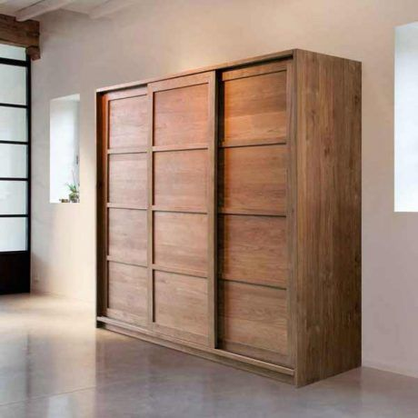 Solid Wood Wardrobe Ideas Come With Sliding Door And White Wall Plus Granite Flooring A Part Of Under Furniture