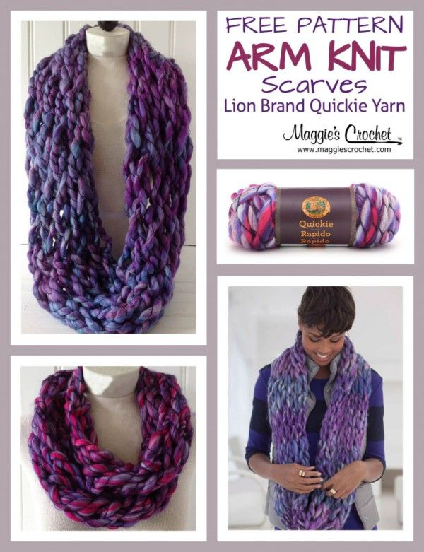 Arm Knit Scarf With Lion Brand Quickie Yarn Arm Knitting