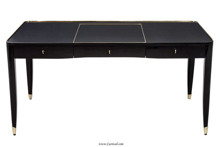 Enjoyable High Gloss Black Lacquer One Fifth Paris Office Writing Desk Download Free Architecture Designs Rallybritishbridgeorg