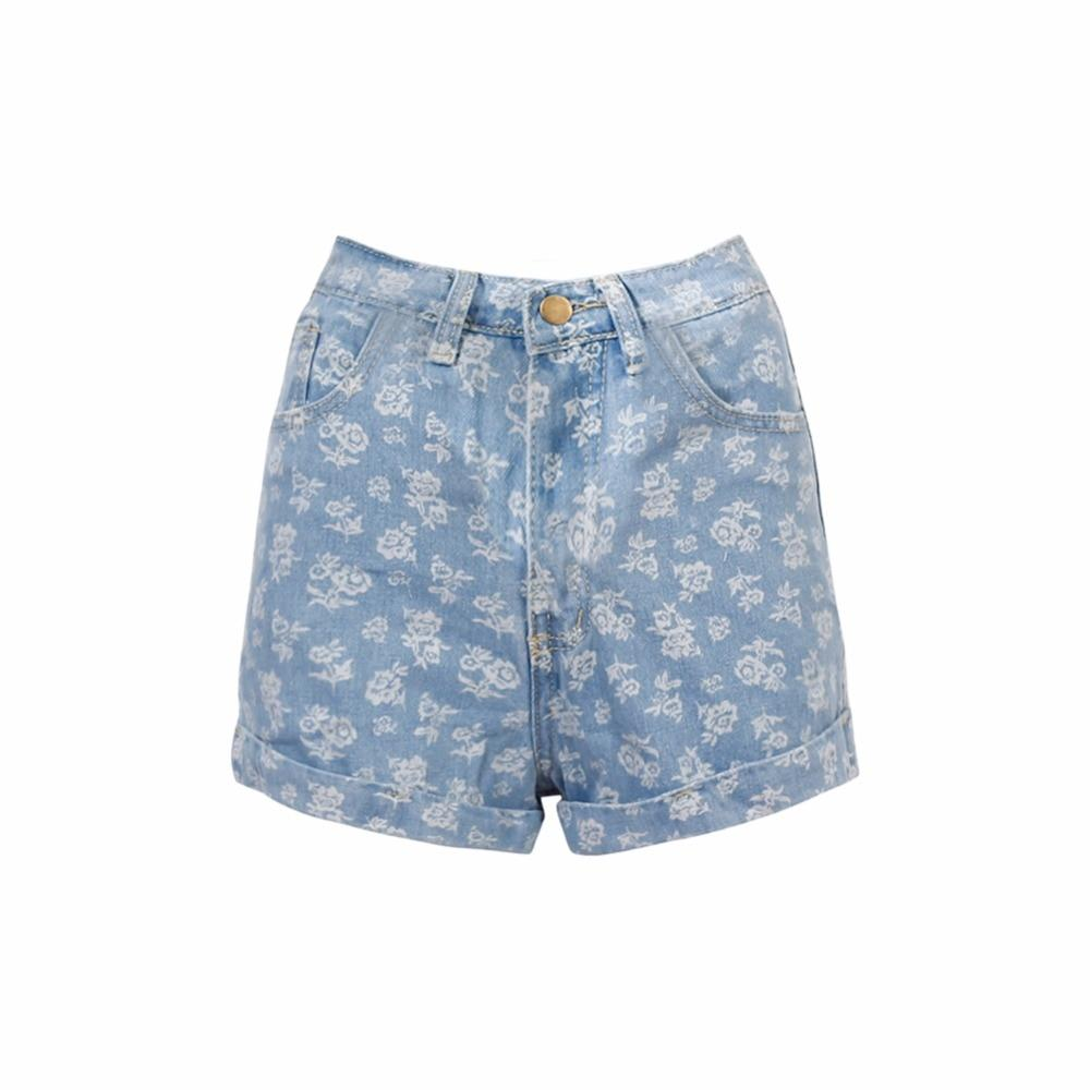 981abcadb0e Vintage Look-Classic High Rise Women's Cuffed Denim Shorts-(6 Colors and  Styles)-FlowerBlue