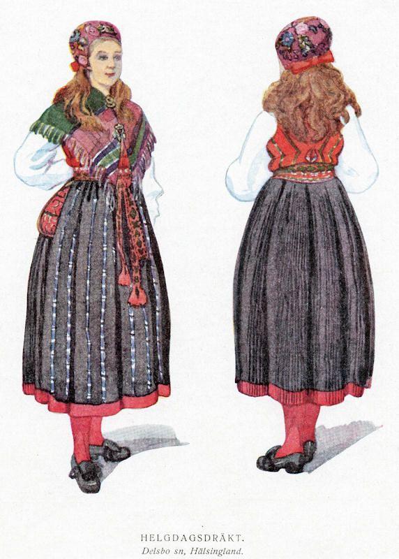 Kvinnodräkt från Delsbo socken i Hälsingland.
