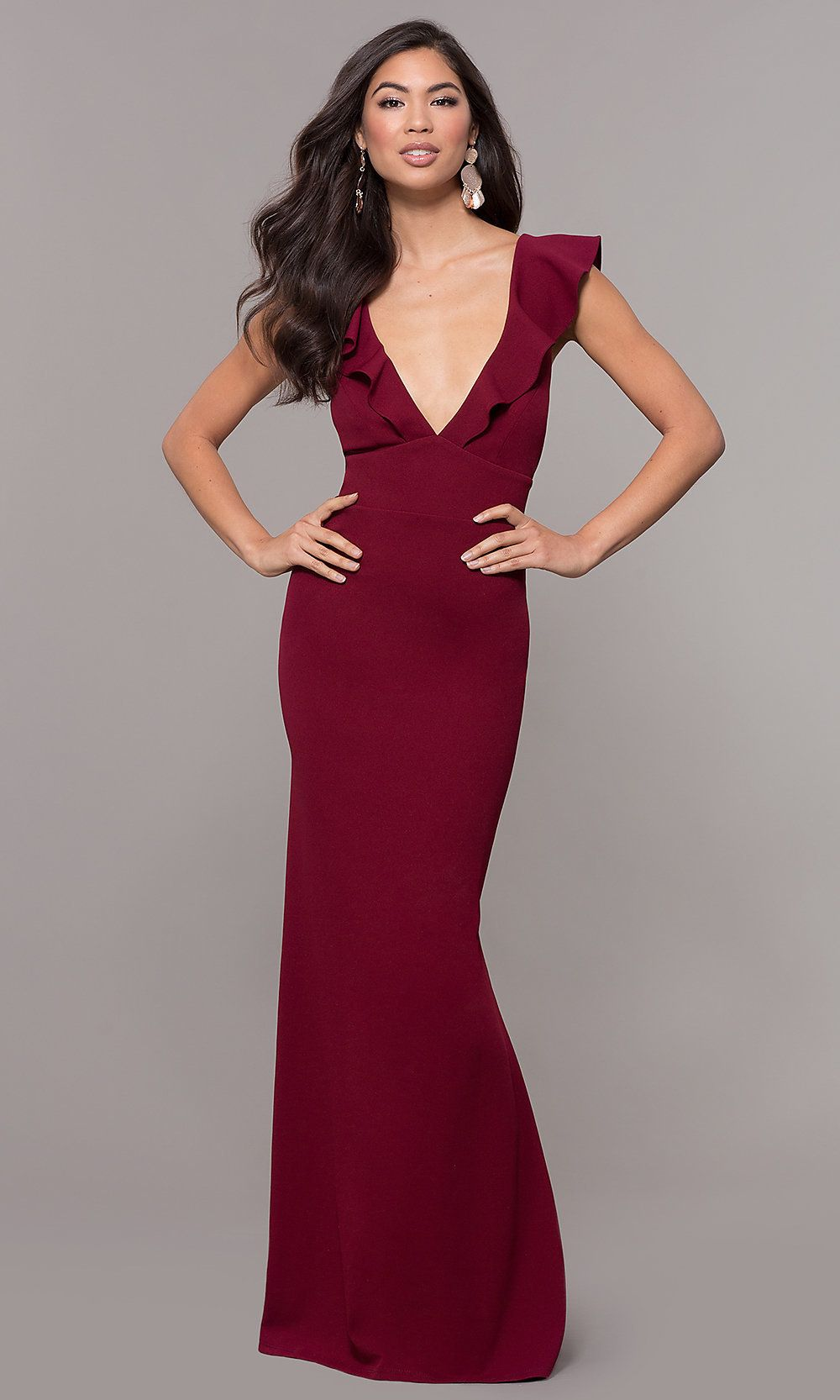 Ruffle Trimmed Wine Red V Neck Prom Dress Ruffle Prom Dress Dresses V Neck Prom Dresses [ 1666 x 1000 Pixel ]