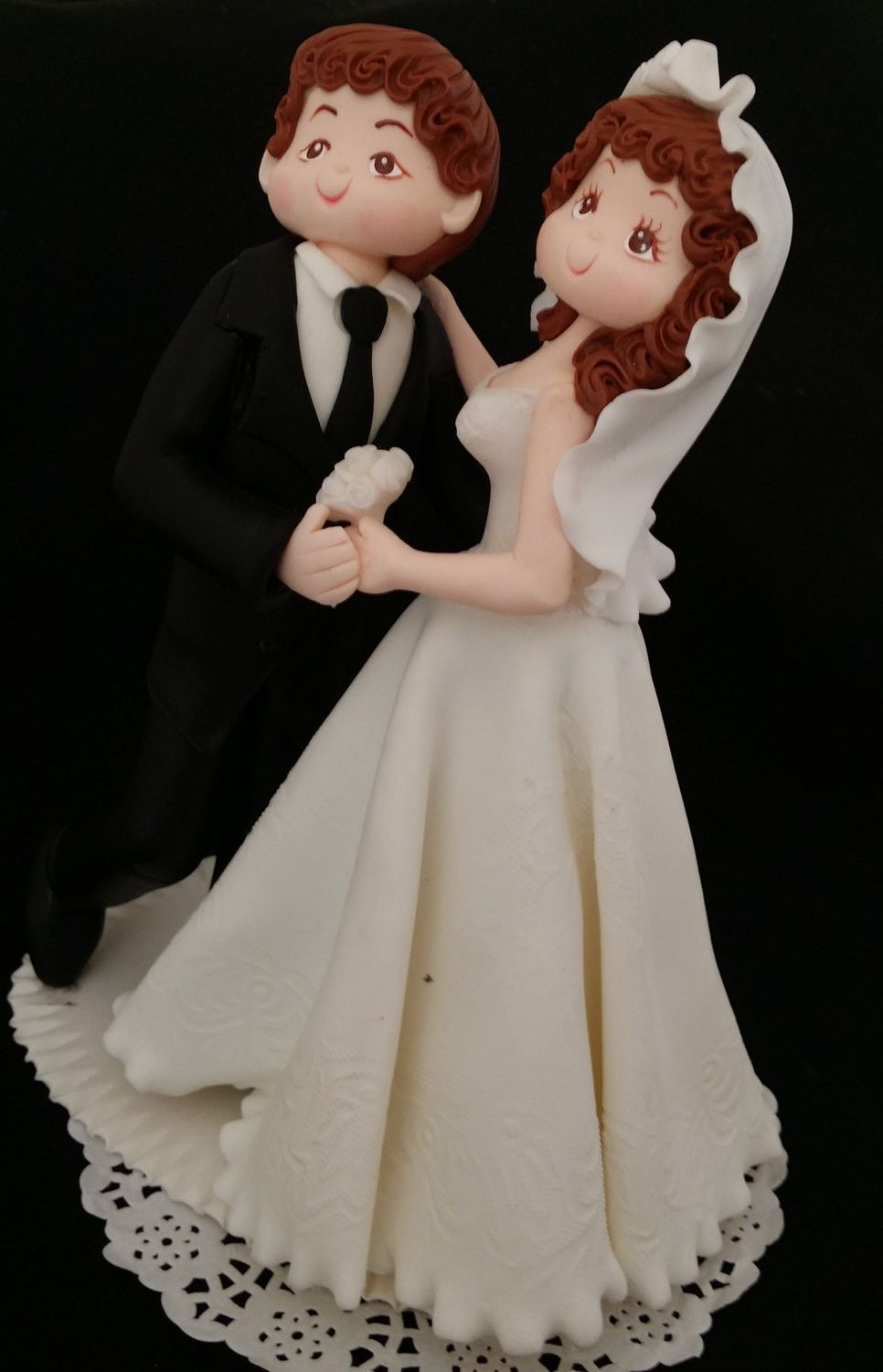 Beautiful Wedding Cake Topper Bride In White Dress With Veil Groom Black Tuxedo Dancing