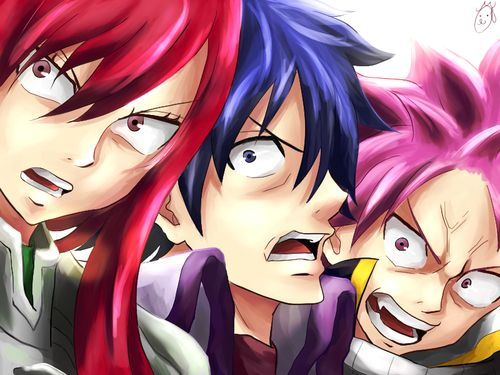 Angry ~ Erza, Gray and Natsu.   Fairy tail art, Fairy tail ...
