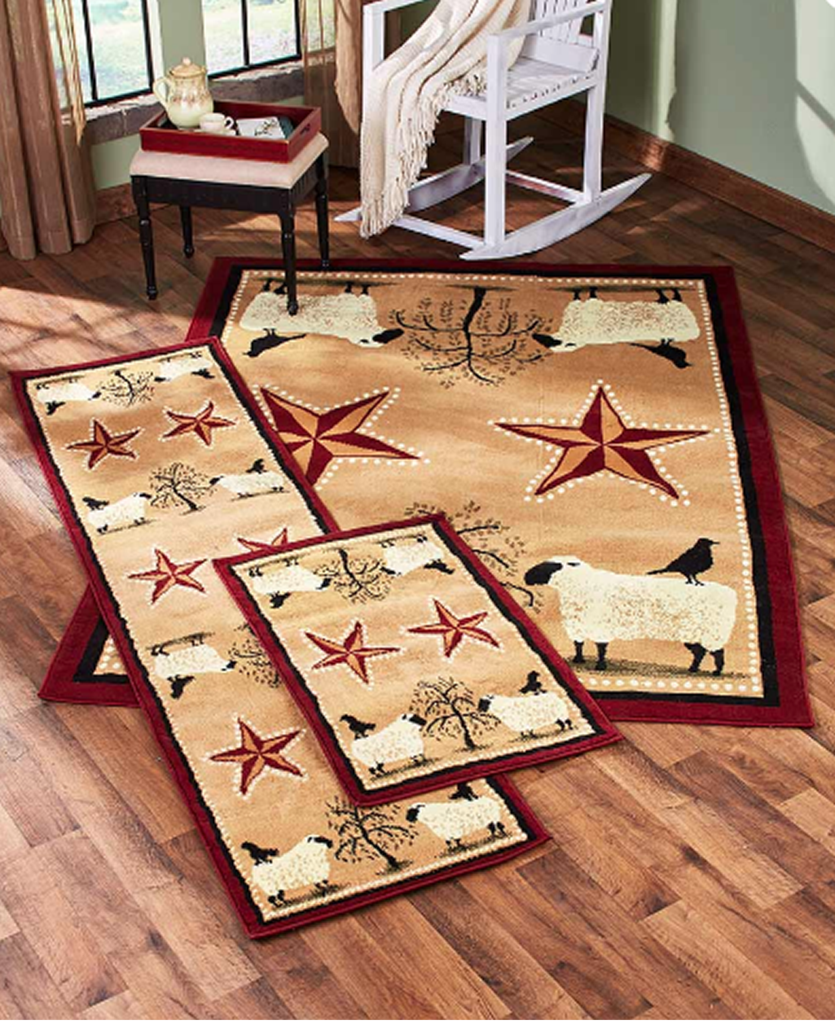 Farmhouse Country Decor Primitive Jute Backed Rugs And