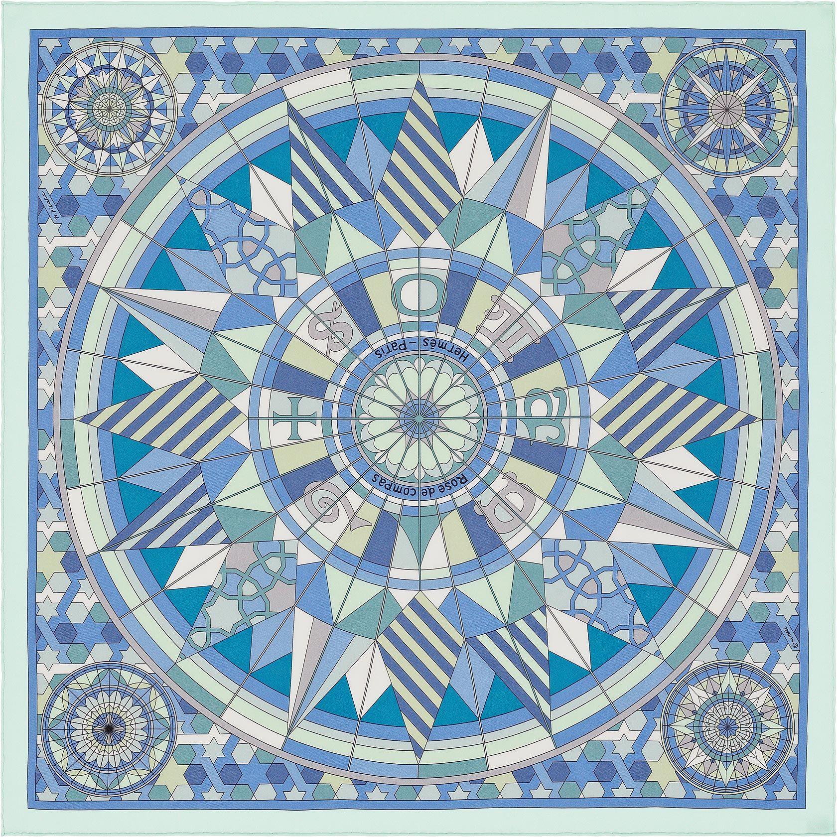 8e78828604e6 Carré 70 Hermès   Rose de Compas Hermès   Natsuno Hidaka ✏ ✏ ✏ ✏ ✏ ✏ ✏ ....  HISTOIRE DU DESSIN   Le compas, cet instrument de navigation ...