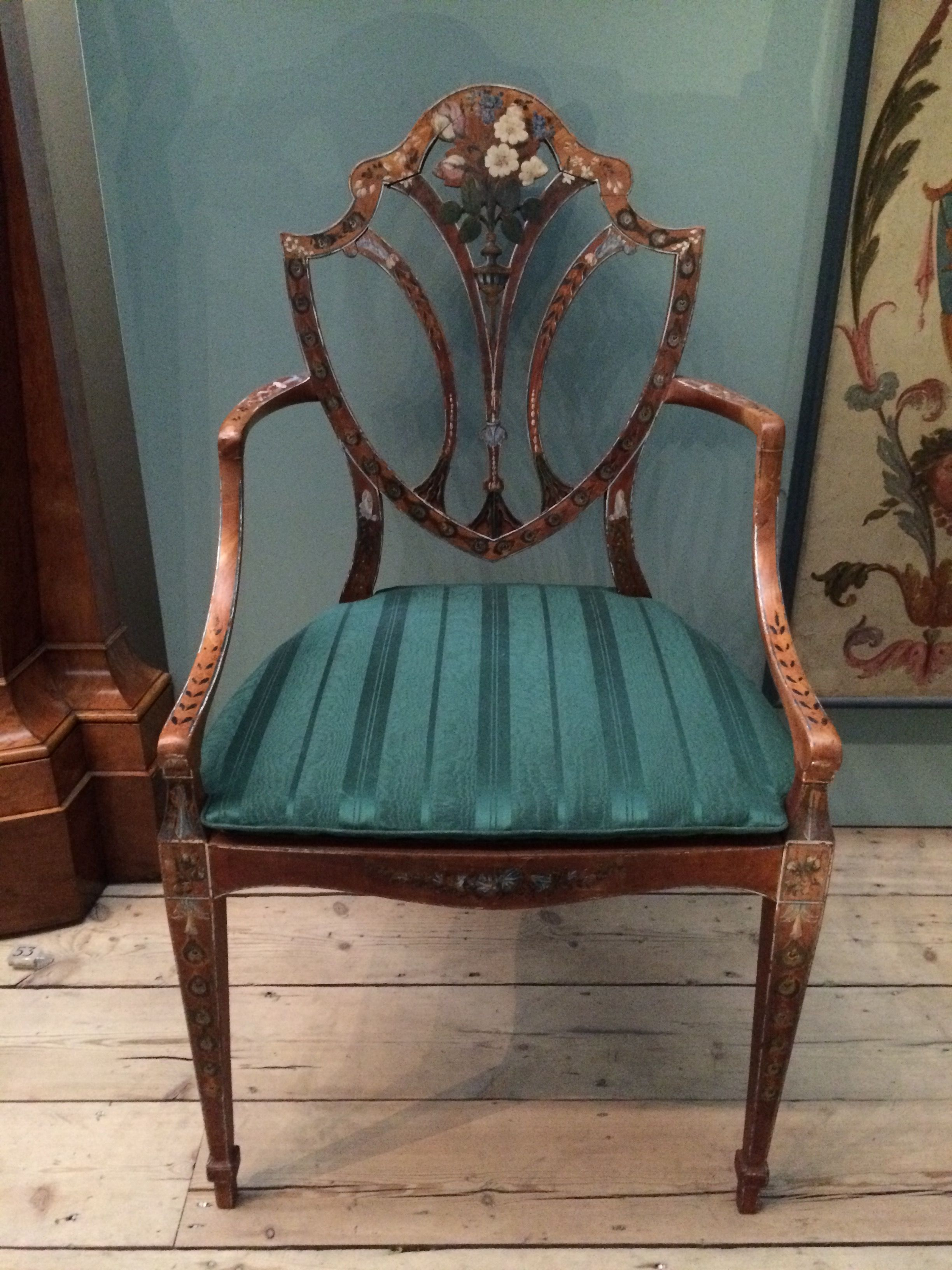 Hepplewhite style neo classical elbow chair London 1790 V&A
