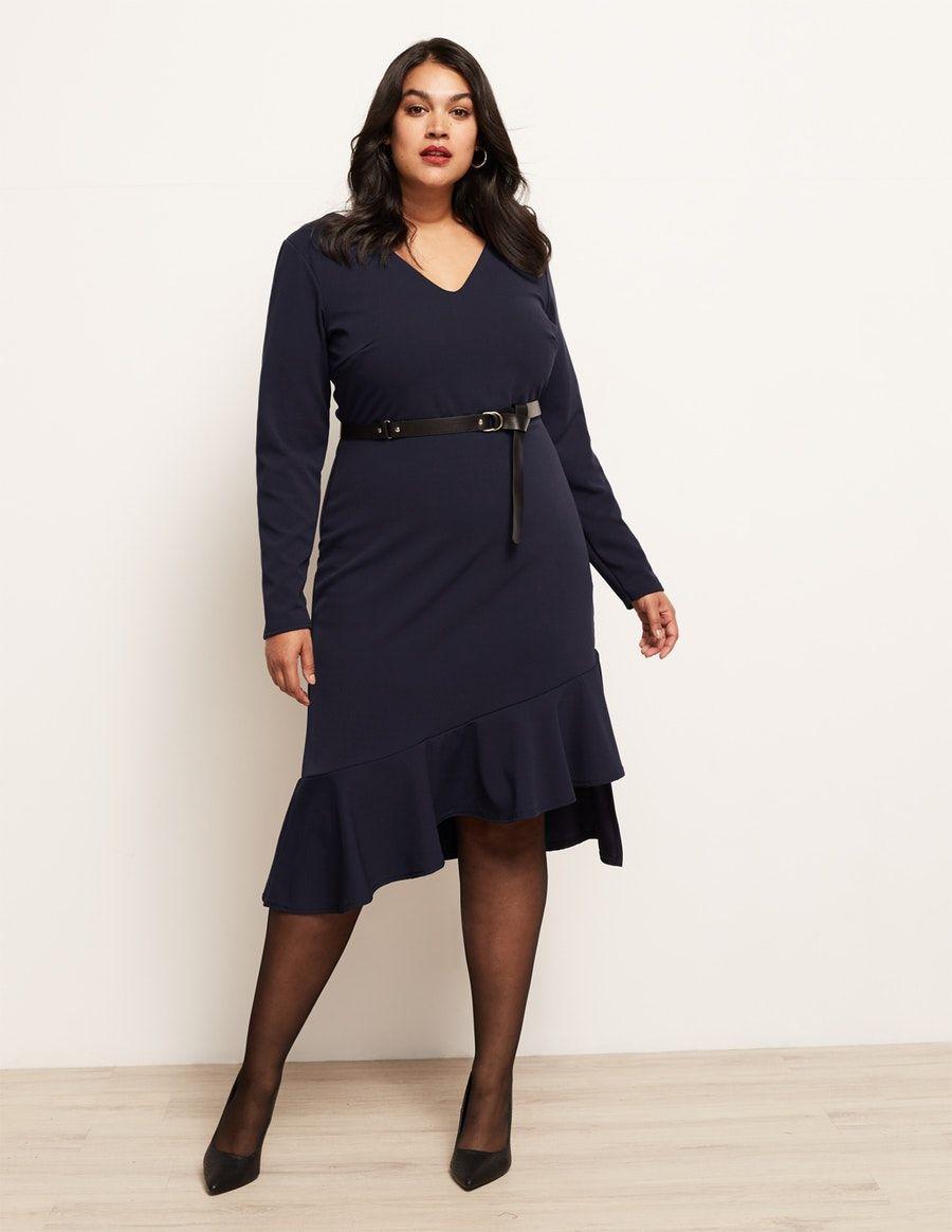 lost ink kleid mit volants und gürtel in blau | elegante