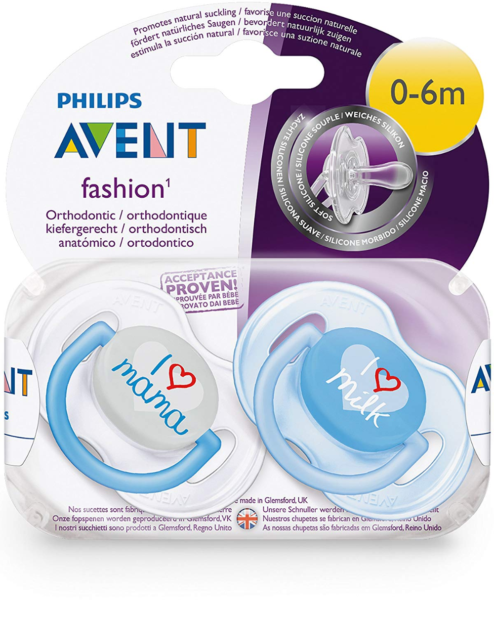 Philips Avent Fashion Pacifiers 0-6m Blue