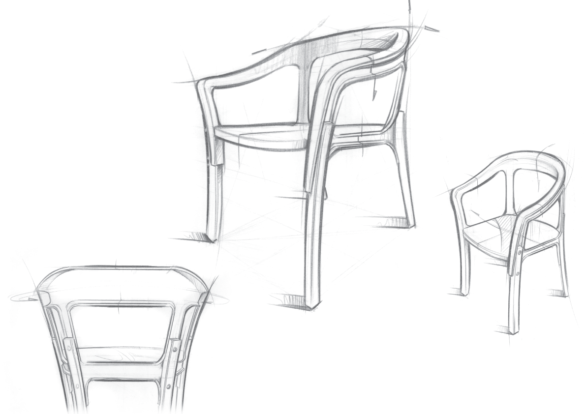 Sketch Steel Wood Chair by the Bouroullec brothers Furniture