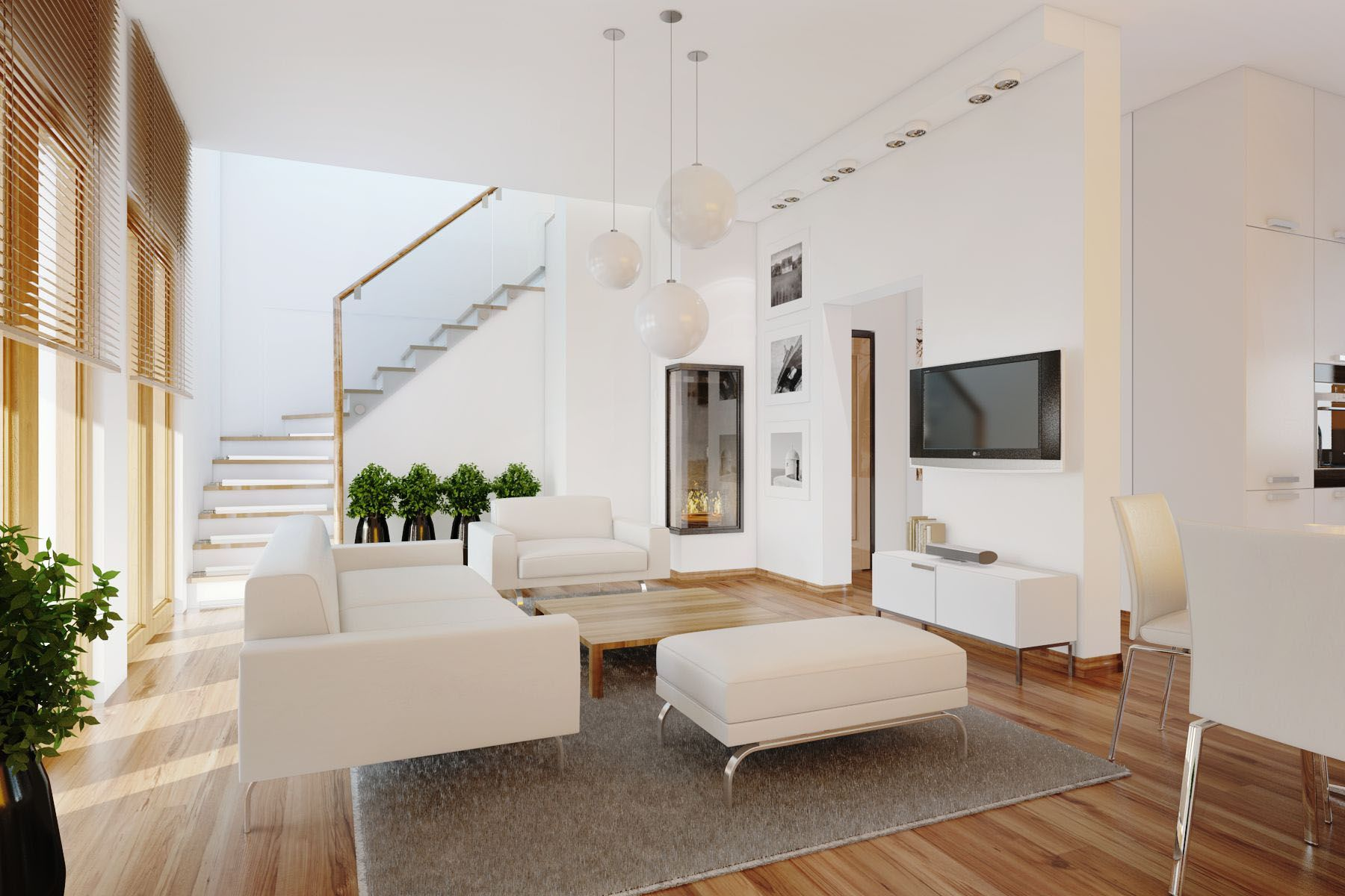 Living Room: Modern White Living Room With Laminated Wooden Floor ...