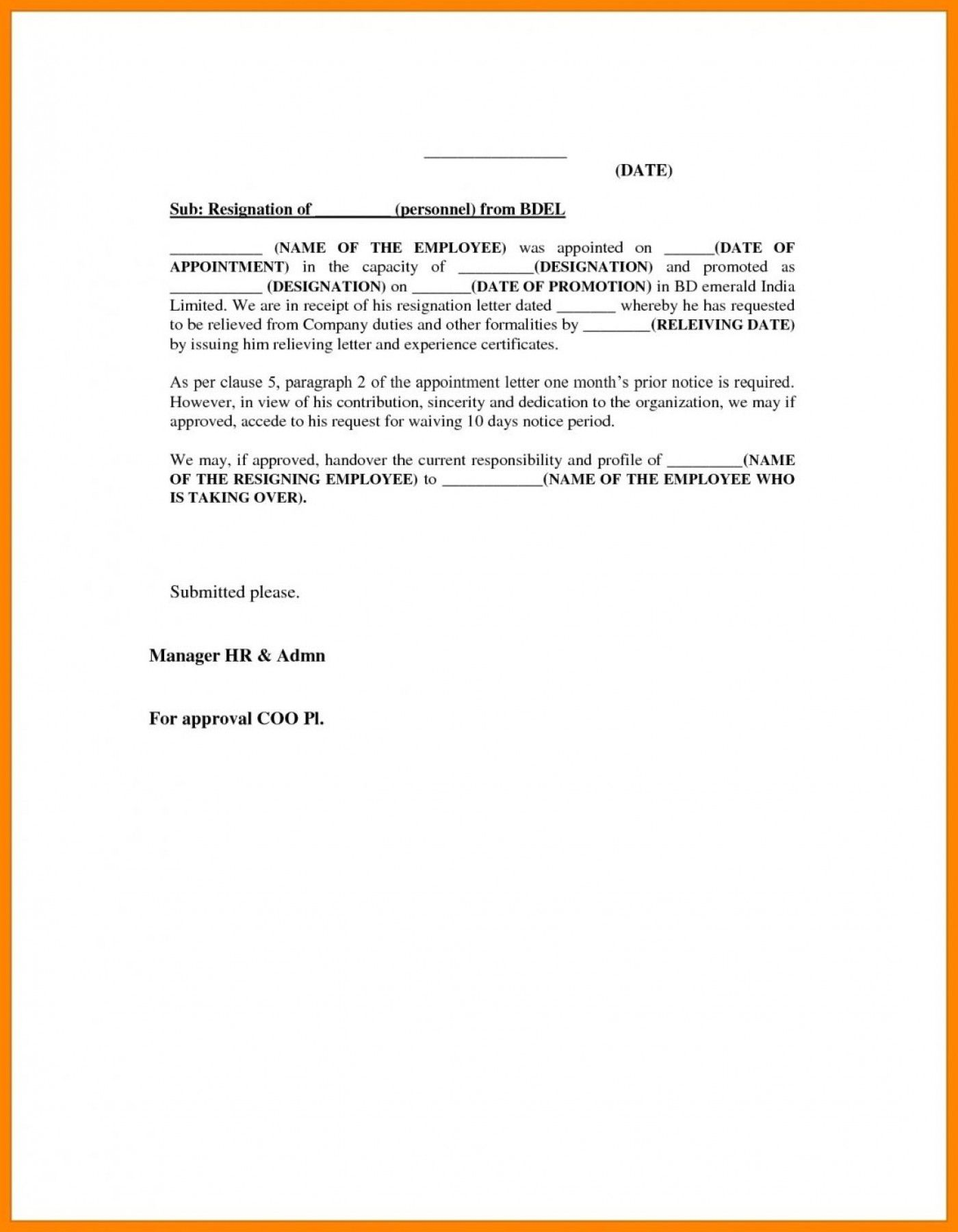 025 Template Ideas Resignation Letter Format To Manager