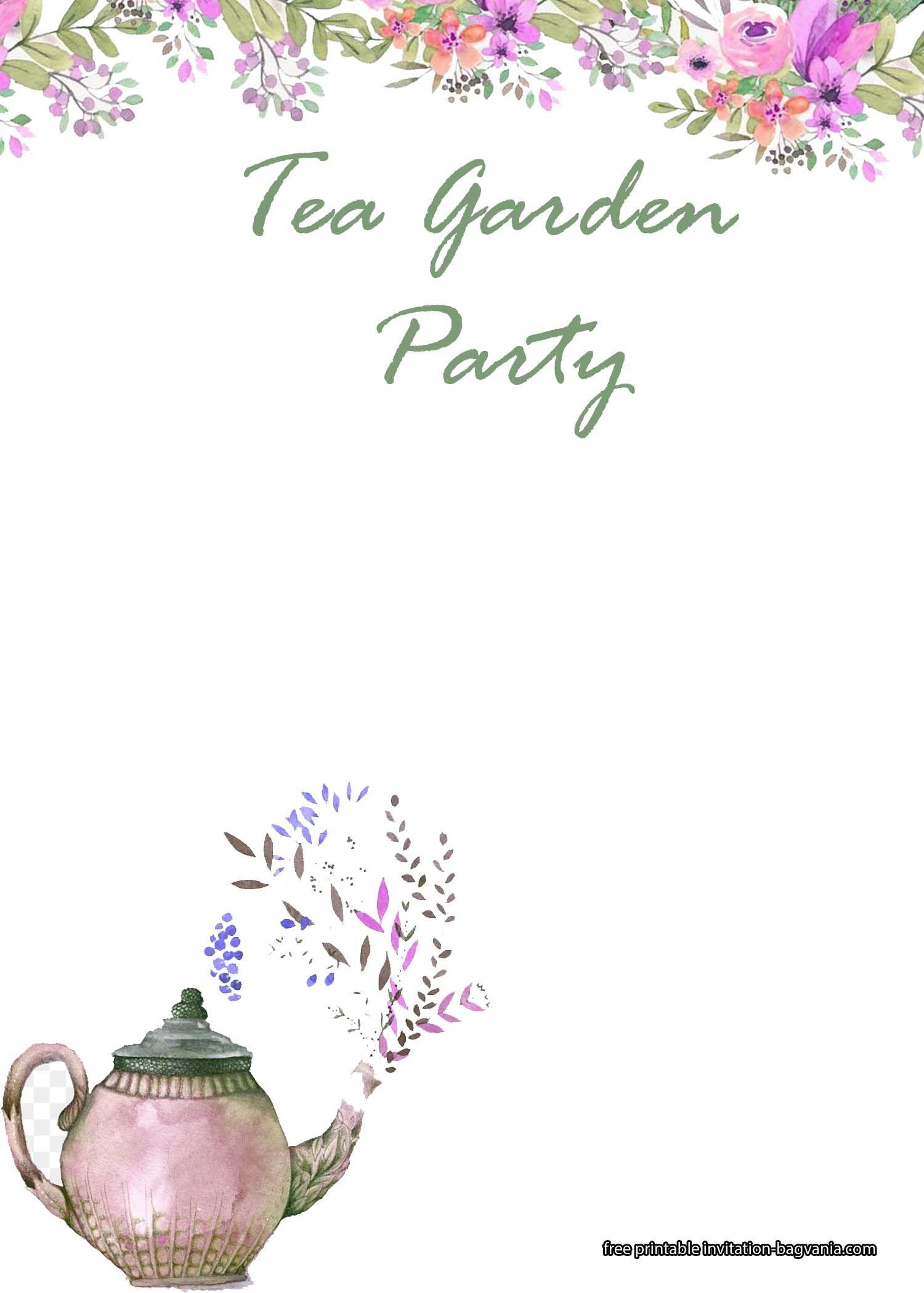 Free Printable Garden Tea Party Invitation Templates Tea Party Invitations Garden Party Invitations Party Invite Template Garden party invite template free