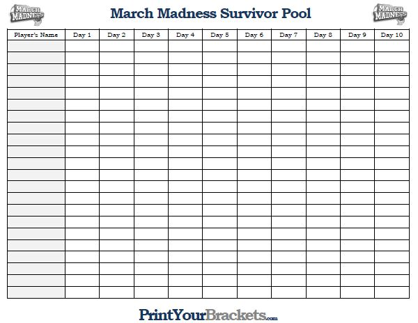 March Madness Survivor Pool  Printable Ncaa Suicide Pool  March