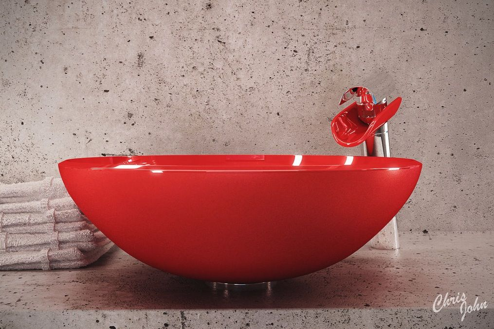 Contemporary Home Design Cool Modern Bath With Red Vessel Sink Comfortable Bathroom Interior