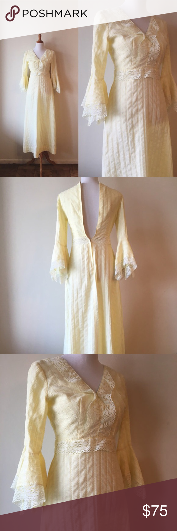 """Vintage wedding maxi dress. Medieval style dress Vintage maxi wedding dress.   Circa: 1970's Label: A Francis Gale by Parkway dress. Made in Canada Material: 50% polyester, 50% cotton Condition: The dress shows normal wear. No visible holes or tears to note.  Modern size: XS/S  Measurements:  Shoulders: 14"""" Bust: 32"""" Waist: 30"""" Hips: 42"""" Sleeve: 23"""" Length from shoulder to hem: 54""""  Each garment is soaked or dry cleaned before going into the shop. Dresses Maxi"""