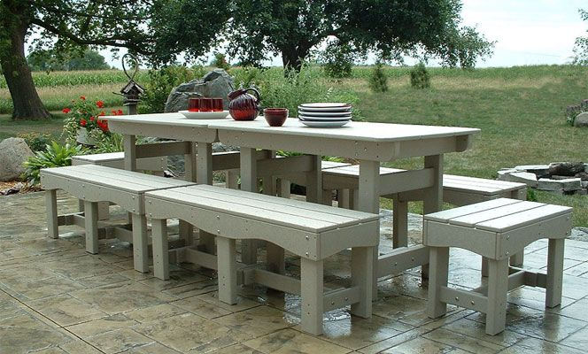 Incredible Outdoor Patio Set Recycled Plastic Table And Benches Evergreenethics Interior Chair Design Evergreenethicsorg