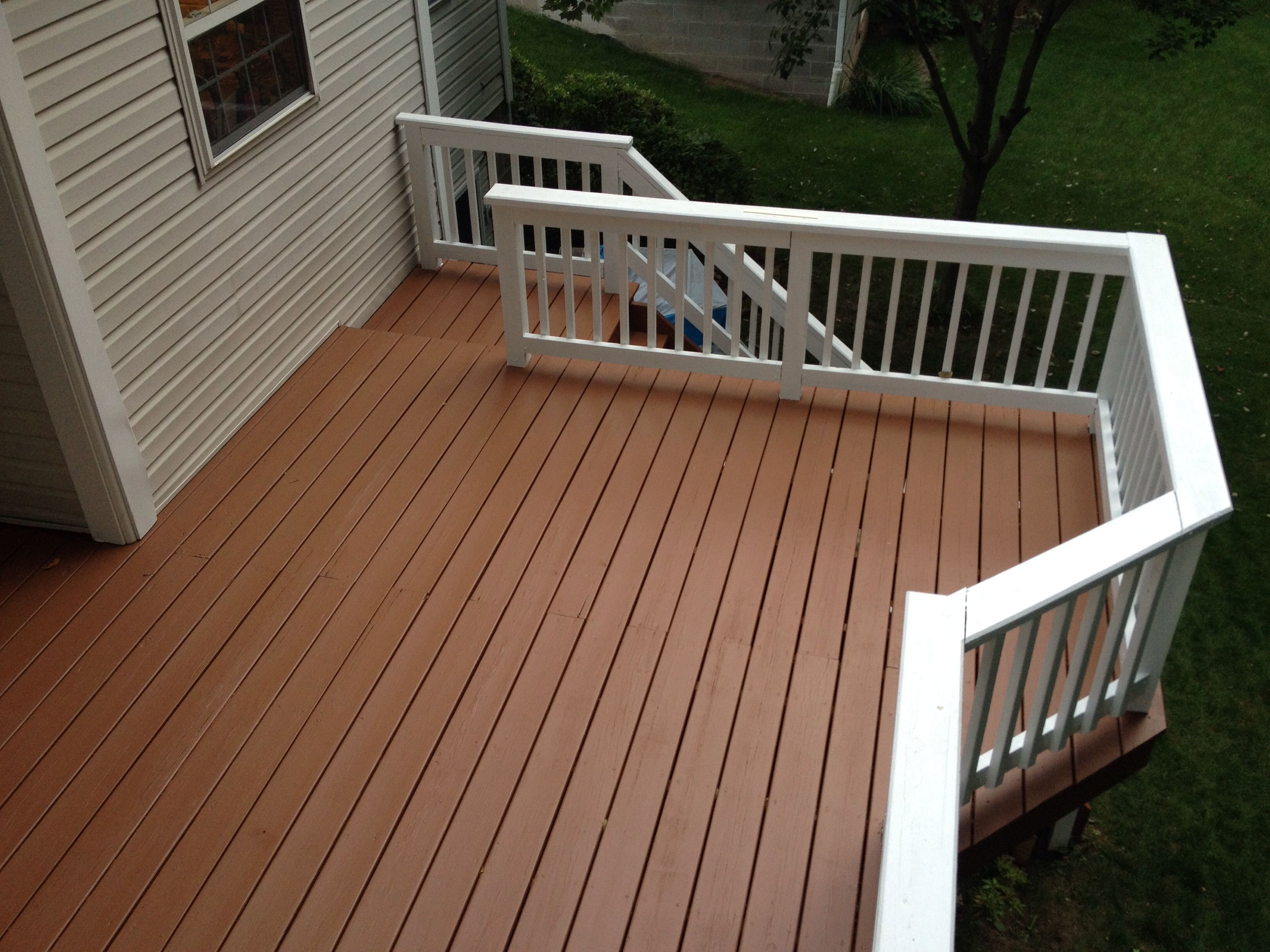 Sherwin Williams Super Deck Done By Me Spindles Are Easy They Just Take A Little Time Backyard Landscaping Deck Makeover Backyard