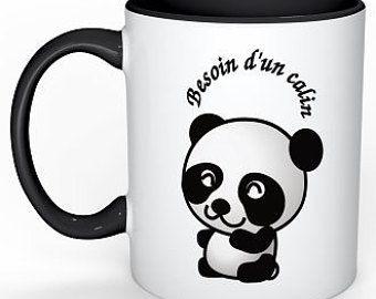Croissant Mug personnalisé - calin panda - mug humour - cadeau original BM-76