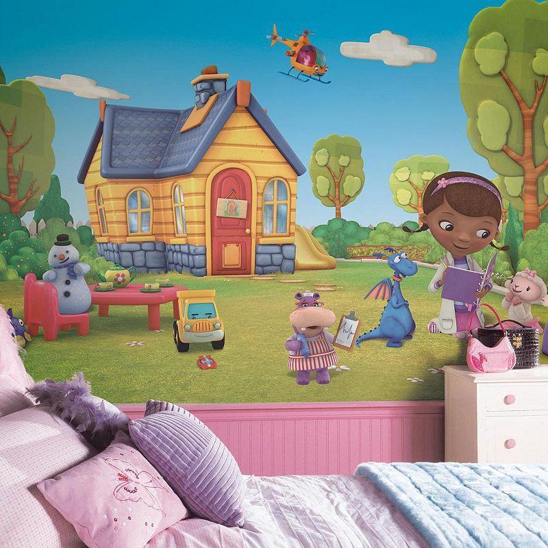 Disney S Doc Mcstuffins Removable Wallpaper Mural In 2020 Walt Disney Kids Removable Wall Murals Mural Wallpaper