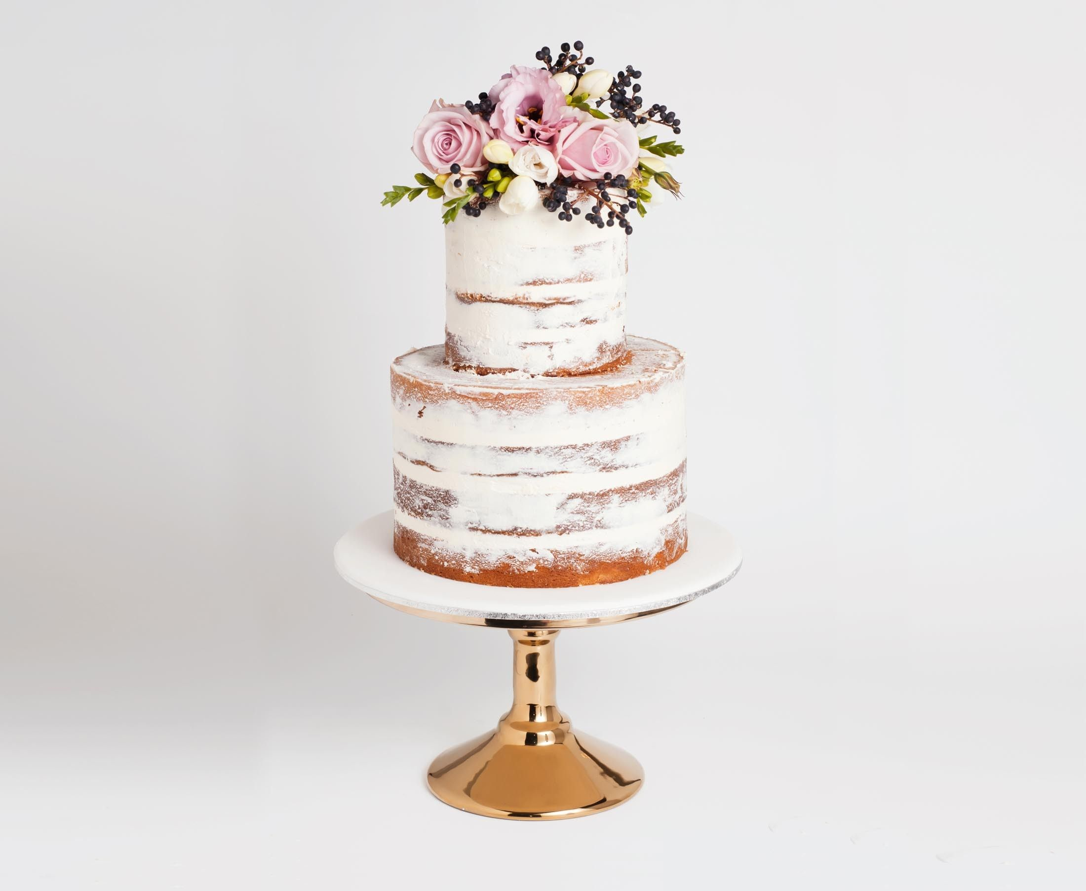 2 tiered semi naked wedding cake - Google Search | Wedding ...