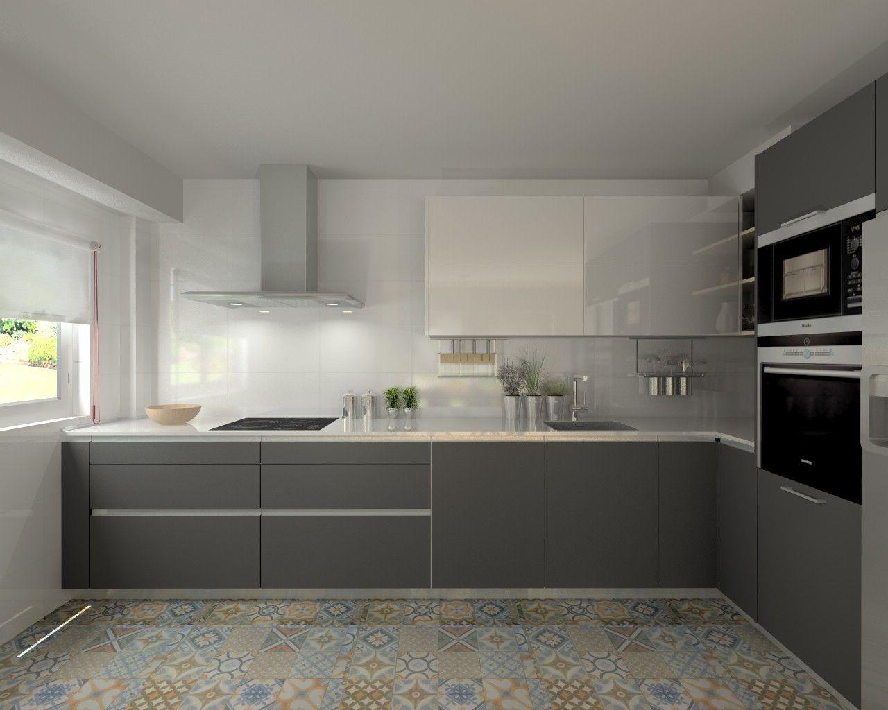 Cocina santos modelo line e gris y line l blanco con for Modelos de cocinas en l