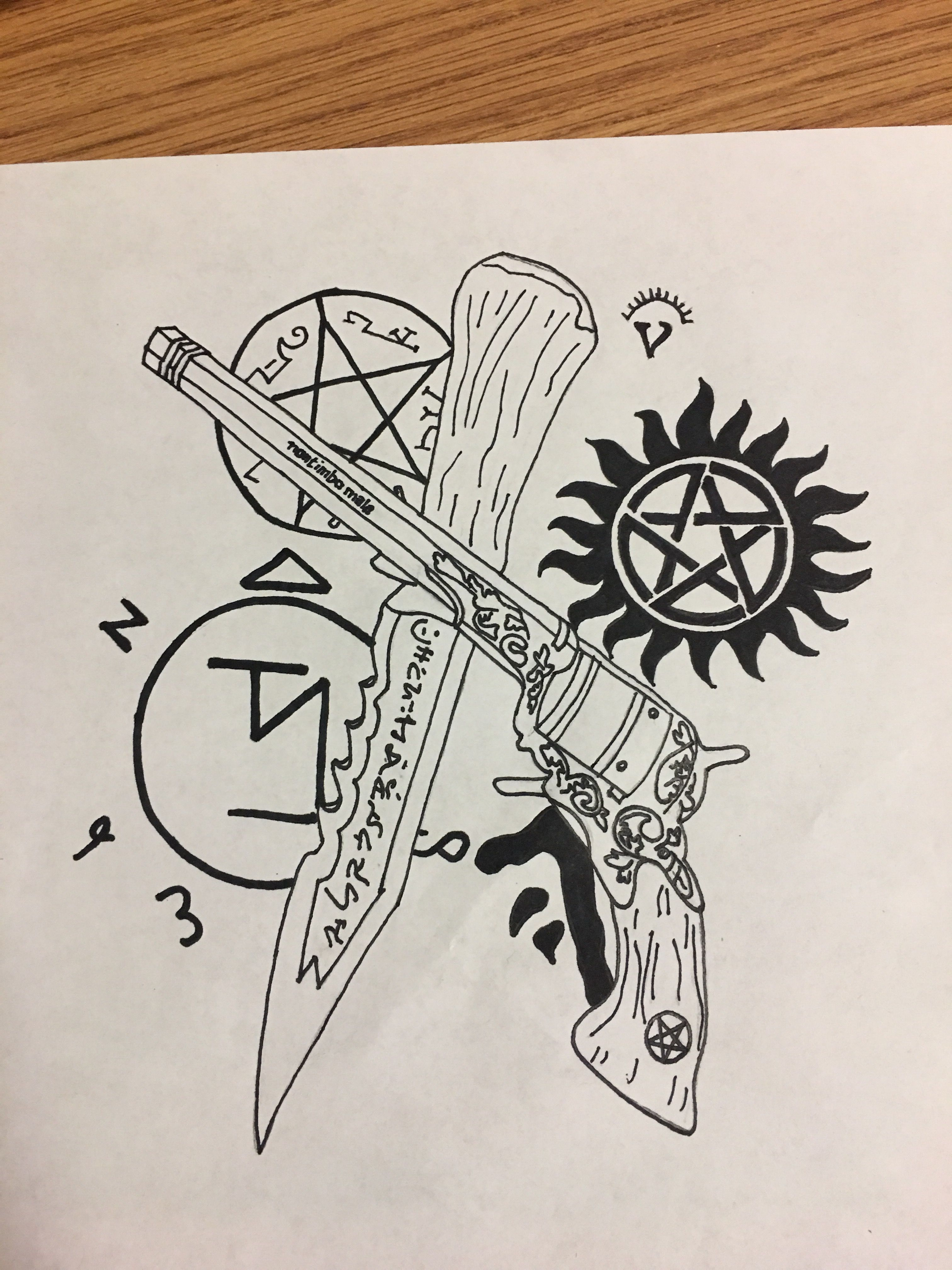 Supernatural tattoo drawing. Supernatural tattoo