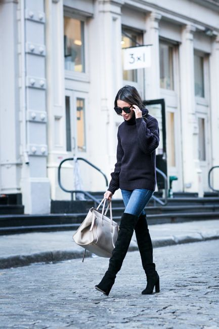 Casual Weekend :: Turtleneck sweater & High boots :: Outfit ::  Top :: Iris & Ink via the Outnet Bottom :: Express Boots :: Dior Bag :: Celine Accessories :: Karen Walker sunglasses, Tiffany & Co rings Published: October 15, 2016