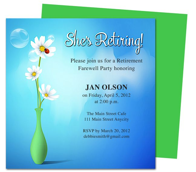 Printable DIY Vase Retirement Party Invitations Templates, ready - free word invitation templates