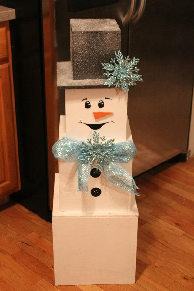 DIY Snowman Make Out Of Stackable Boxes Holidays