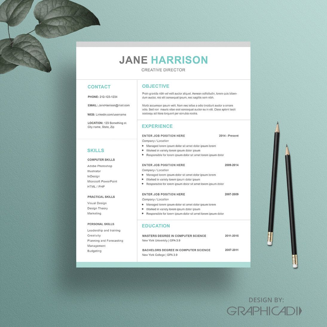 Resume Template With A Matching Cover Letter And Reference Page