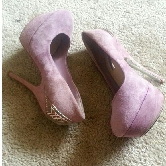 Light purple lilac pump heels Used twice. But dont wear them often so decided to list.  Fabric is suide  has some wear marking as shown  Amazing back detail H by Halston Shoes Heels