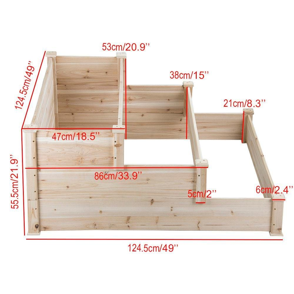 Amazon Com Yaheetech 3 Tier Wooden Raised Garden Bed Elevated Planter Box Kit Outdoor Solid Wood 49 X49 X21 9 Garden Beds Vegetable Bed Raised Garden Beds